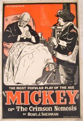 1910 Unfolded Theatre Poster -mickey Or The Crimson
