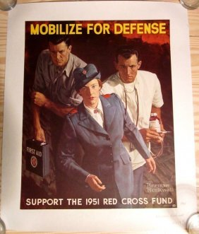 Vintage Norman Rockwell Mobilize For Defense-red Cross!