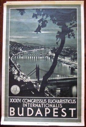 Budapest Travel Poster- Xxxiv Congressus Eucharisticus