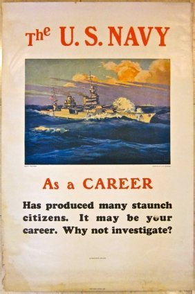 U.s. Navy As A Career 1943 Wwii Poster - J.w. Burbank