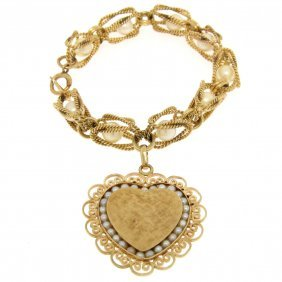 Vintage Lucien Piccard 14k Gold Twist Wire Pearl Large