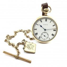 Vintage Elgin 15 Jewel Pocket Watch With Locket Fob.