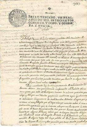 1789 Peruvian Manuscript Don Jose Ramon Loayza Signed