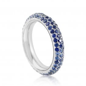 Chanel 18k White Gold Full Diamond & Sapphire Pave Band