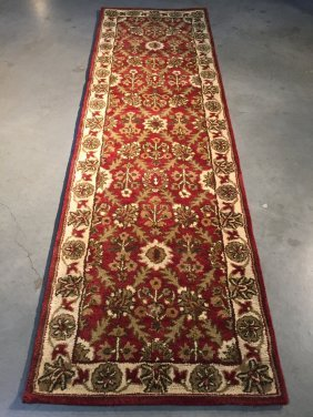 8 Ft Hand Made 100%wool Traditional Allover Runner