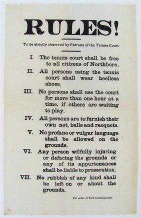 C 1900 Vintage Tennis Court Rules, Cloth Broadside