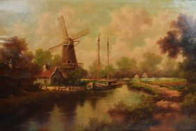 Vintage Oil On Canvas Painting Dutch Scene Windmill