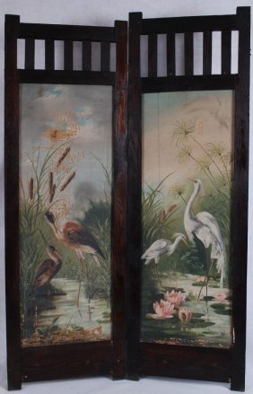 Antique 19c Oil On Canvas Two Part Dressing Screen Wild