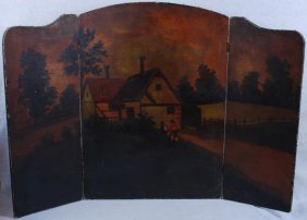 Tri Fold Antique Oil On Canvas Painted Fireplace Screen