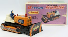 Vintage Battery Op U-turn Bulldozer Caterpillar Toy