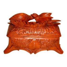 A Fine Carved Black Forest Mens Box Lined