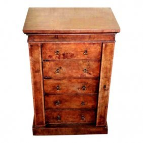 Burled Walnut Small Wellington Chest, Circa 1850