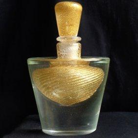 Murano Gold Flecks Sommerso Perfume Bottle