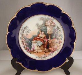 Vintage Limoges Porcelain Moreau Cabinet Plate - Cobalt
