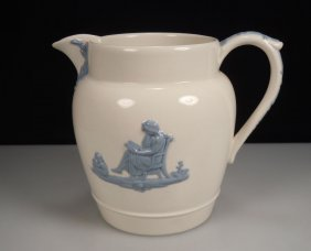 Wedgwood Queen's Ware Blue & White Pitcher Etruria &