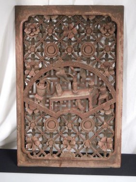 """Antique Chinese Carved Wood Panel 24"""" X 16"""""""