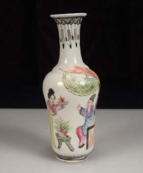 Chinese Porcelain Famille Rose Miniature Vase -jiaqing