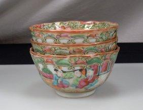 Chinese Rose Medallion 3 Bowls - Export Porcelain