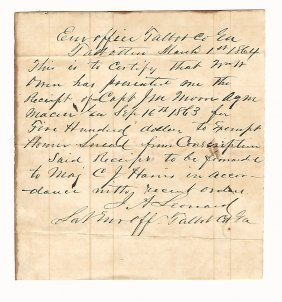 1864 Manuscript Confederate Civil War Exemption