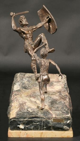 666 Yaacov Heller Israeli Art David Goliath Sculpture