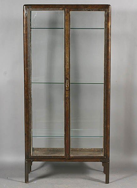 430: VINTAGE METAL VITRINE GLASS DOORS C.1930 : Lot 430