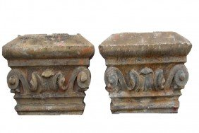 PAIR CARVED STONE CAPITOLS