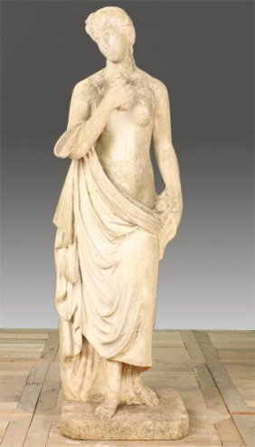 19TH CENT. ITALIAN CARVED MARBLE FIGURE WOMAN