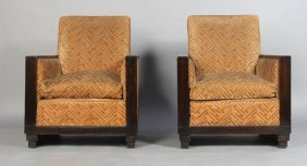 PR ART DECO CLUB CHAIRS WOOD ARMS STEPPED BASES