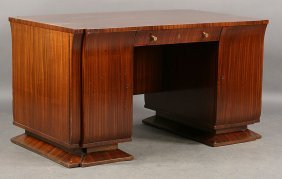 ART DECO DESK SINGLE DRAWER 2 CABINETS