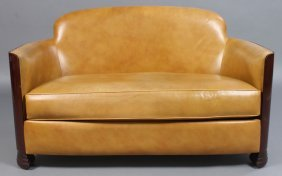 ART DECO LEATHER LOVE SEAT LOOSE CUSHION