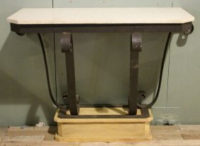 PAIR ART DECO WROUGHT IRON CONSOLES MARBLE TOP