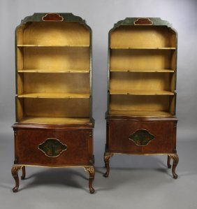 PR PAINTED CHINOISERIE BOOKCASE CABINETS
