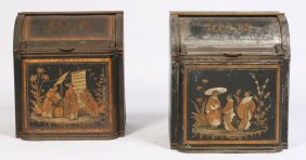 PAIR 19TH CENT. ENGLISH TOLE TEA BINS