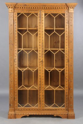 ENGLISH PINE GEORGIAN STYLE BOOKCASE GLASS DOORS