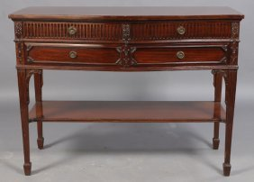 BROWN & SIMONDS ENGLISH CARVED SERPENTINE SERVER