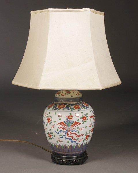 modern chinese ginger jar lamp 6 sided silk shade lot 44. Black Bedroom Furniture Sets. Home Design Ideas