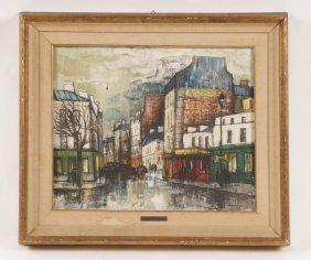 RENNE BERNARD SIGNED OIL PAINTING PARIS SCENE