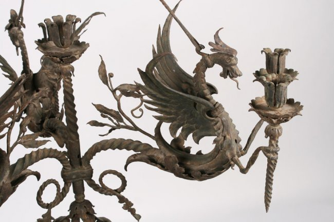 WROUGHT IRON 3 ARM DRAGON THEME CHANDELIER C 1900 Lot 1