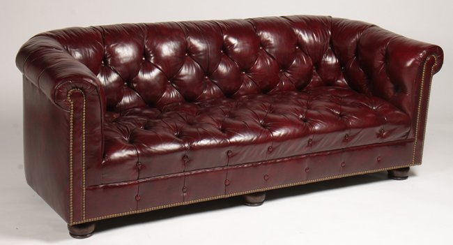LABELED HANCOCK MOORE CHESTERFIELD SOFA Lot 400