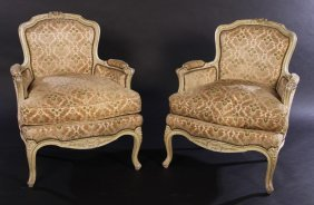 Pair Louis Xv Style Carved Paitned Bergeres C.193