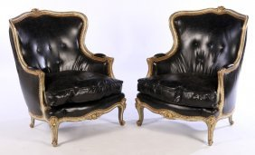 Pair Giltwood Carved Painted Bergere Chairs 1940