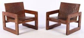 Pr Mid Century Brazilian Leather Club Chairs 1950