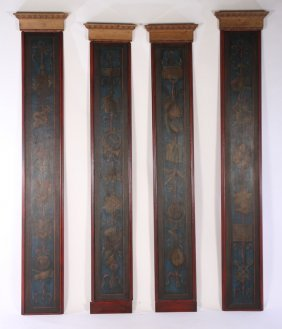 4 Continental Painted Architectural Pilasters