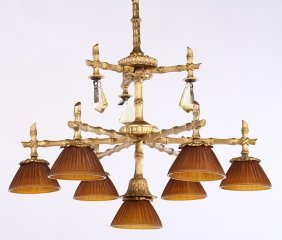 Bronze Faux Bamboo Chandelier 7 Linenfold Shades