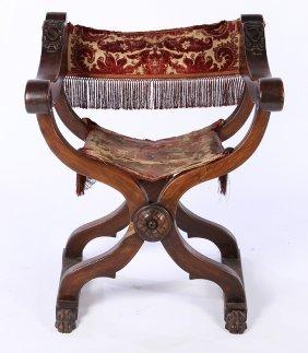 19th Cent. Italian Walnut Savonarola Chair