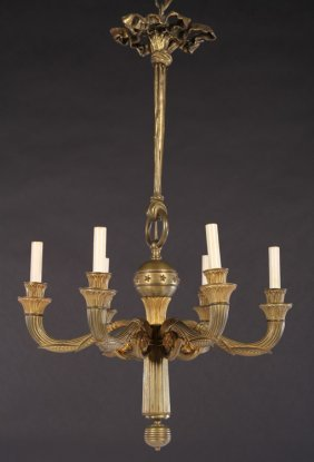 Pair Empire Style Bronze Chandeliers Six Arms