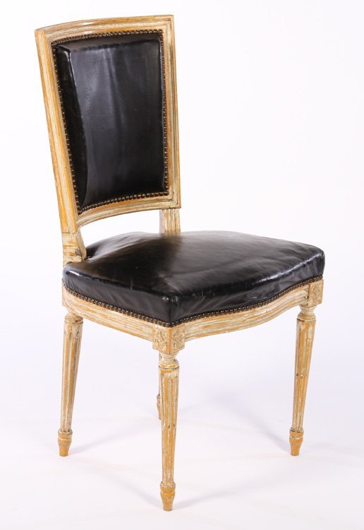 6 FRENCH LOUIS XVI LEATHER DINING CHAIRS Lot 99