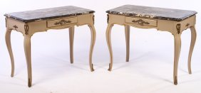 Pair Louis Xv Style Carved Painted Consoles
