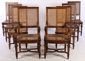 Set Of 8 French Carved Walnut Dining Chairs