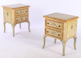 Pair Venetian Style Paint Decorated End Tables